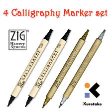 ZIG Memory System Calligraphy marker pen set: 2 x Black, 1 x Gold, 1 x Silver