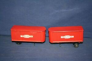 Marx TWO Red Burlington Vans for Parts or Restore