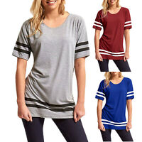 Womens Summer Short Sleeve T-shirt Striped Loose Shirts O Neck Blouse Long Tops
