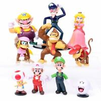 Super Mario Bros Peach Toad Wario Luigi Yoshi Bowser Kong Action Figures Toy 5''