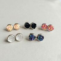 Women Druzy Copper Stud Earrings Small Circle Designer Inspired Dot Accessories