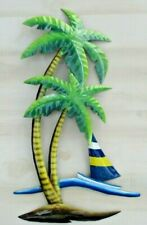 Palm tree Sailboat decor metal wall decor Island Beach house Patio Pool Porch