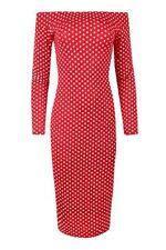 Vestiti da donna a manica lunga rossi a barchetta