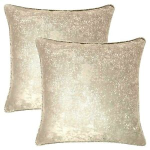 """2 X GLITTERY GOLD SPARKLES CHAMPAGNE GOLD LUXURY PIPED 17"""" CUSHION COVER £10.99"""