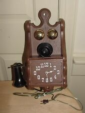 Spartus Telephone Wall Clock H6758 Antique Look Plastic Faux Wood Novelty WORKS