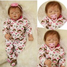 Handmade 22'' Lifelike Newborn Silicone Cotton Reborn Gift Baby Dolls For Kids
