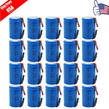20 x NiCd 4/5 SubC Sub C 1.2V 2200mAh Rechargeable Battery With Tab Blue USA