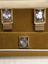 Vintage *SWANK Cuff Link Tie Tack Wrap-Around Set Gold Tone ALEXANDRITE June NOS