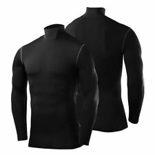 Mens and Boys PowerLayer Compression Armour Thermal Base Layer Training Top Long Sleeve - Mock Neck Black L