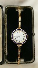 ANTIQUE 9CT GOLD AND ENAMEL WRIST WATCH BOXED