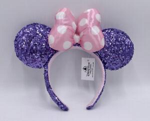 Minnie Headband 2021 Disney Parks Rare Resort Pink Polka Dot Purple Sequin Ears