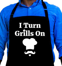 I Turn Grills On Cooking BBQ Funny Apron Gift for Dad or Grandpa by ApronMen