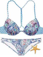 3 Piece Victoria Secret Fabulous 34D Medium Blue Paisley bikini Romper Cover up