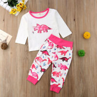 US Cute Newborn Baby Girl Long Sleeve Dinosaur Tops Pants Legging Outfit Clothes