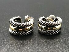 David Yurman Thoroughbred Sterling & 14K 8MM Wide Hoop Cable Earrings