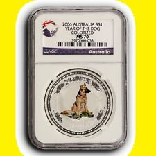 2006 NGC MS70 Australia Year of the Dog Colorized .999 1 oz Silver Coin