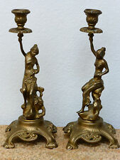 """Vintage/Antique Set of 2 Brass Lady Statues Candle Stick Holder, 12.5"""" tall"""