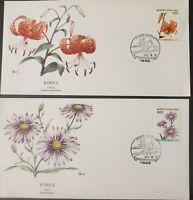 South Korea 1990 Fleetwood Flower FDCs