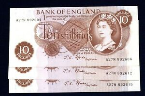Bank of England  ten shilling notes 3-off Fforde A27N 89...04,12 and 15 UNC