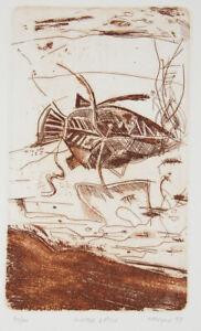 Greg MALLYON Hunter & Fish - Original Signed Australian Etching, Earthy, Minimal