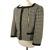 Hobbs Size 14 Cream Black Dogtooth Boxy Smart Jacket Press Studs Wool Blend