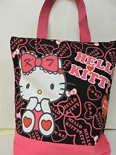 Black/Pink Hello Kitty Printed Ladies/Teen Medium Size Hand Bag/Tote Bag w/tag