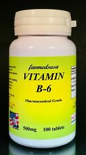 Vitamin B-6, B6, 500mg, pyridoxine, heart, energy, depression- 100 tablets