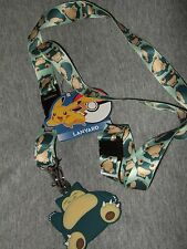 Nwt Pokemon Snorlax Anime Detachable Keychain Lanyard With Rubber Charm Nintendo