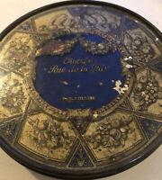"""Vintage Round Park & Tilford Tindeco Candy Tin 7.25"""" Chocolate Rue de la Paix"""