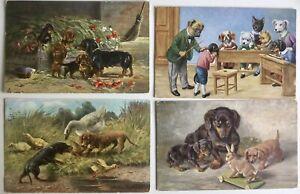 4 Vintage, Coloured Dachshunds Postcards