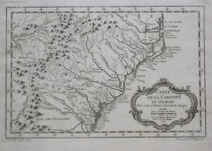 Original 1757 Bellin Map GEORGIA NORTH & SOUTH CAROLINA Charleston Savannah Bath