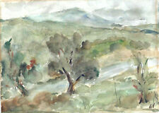 JEWISH RUSSIAN WATERCOLOR DRAWING GALILEE LANDSCAPE SIGN. RAITBERGER 1973 ISRAEL