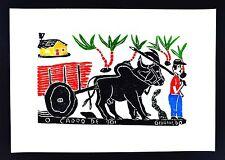 Brazil Folk Art Givanildo - Carro de Boi - Ox Cart -  Sugar Cane - Woodcut Print