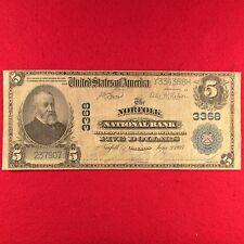 $5 National Bank Note-Norfolk 1902 Series