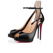 Christian Louboutin Mascaralta 120 Black Leather Ankle Strap Sandal Heel Pump 41