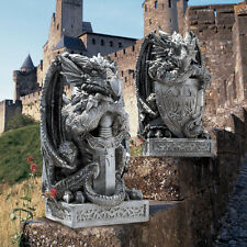 Legendary Loyal Castle Guard Dragon Statues: Sword & Shield on Celtic Knot Base