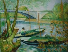 Vincent Van Gogh A Fisherman in His Boat Painting 20x16Inches By Hands UK Artist