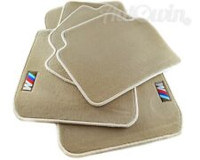 BMW M1 Series E82 Floor Mats Beige With Rubber Background /// M Logo LHD