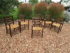 6 Antique Ladder Back Rush Seat Arm Chairs dining chairs all original