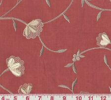 P Kaufmann Heirloom Coral Embroidered Floral Woven Fabric BTY