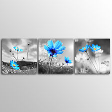 No Frame 3 Panels Blue Flower Wall  Art  Canvas Prints canvas painting
