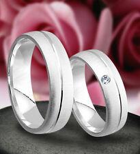 2 Ringe Trauringe Eheringe mit echten Diamant , Silber 925 , Gravur Gratis J50-1