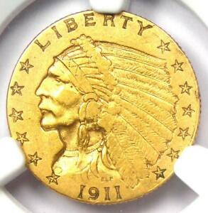 1911-D Indian Gold Quarter Eagle $2.50 Coin (Weak D) - NGC XF40 - Key Date!