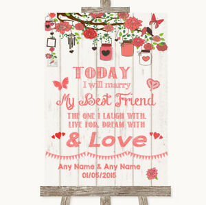 Wedding Sign Poster Print Coral Rustic Wood Today I Marry My Best Friend