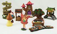 Secret Fairy Magical Garden 9 piece set tree Log House Pixie Ornaments play set