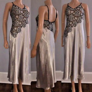 SHINY LIQUID SATIN VINTAGE GORGEOUS JONES NEW YORK SILVER NIGHT GOWN DRESS SM