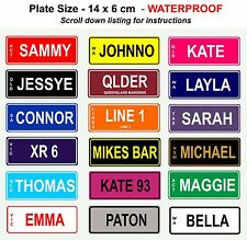 Personalised Novelty Kids Mini Bike Number Plate Licence Gift Birthday Sign Xmas
