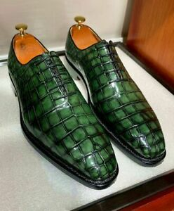Handmade men green crocodile textured shoes, leather shoes men, oxford shoes