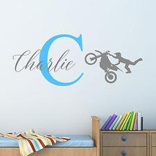 Personalizado Moto Cross Adhesivo de pared Chicos Niños Dormitorio Infantil