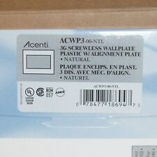 (C) Leviton ACENTI ACWP3-00-NTL 3G Screwless Wall Plate (QTY10)